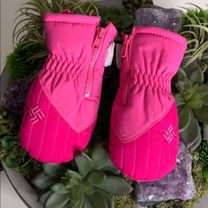 Columbia sportswear pink infant baby mittens